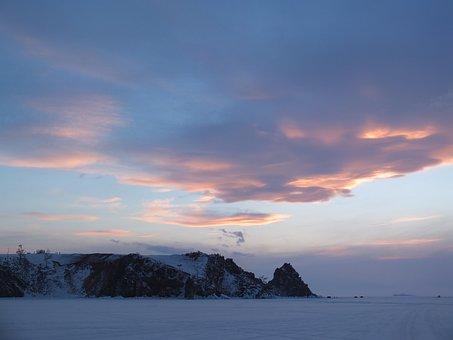 Winter, Snow, Ice, Sky, Nature, Mountains, Lake Baikal