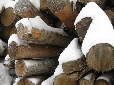Wood, Logs, Close Up On The Logs, Nature, Snow-covered