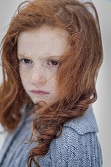 Child, Portrait, Girl, Freckles, Brown, Winter, Snow