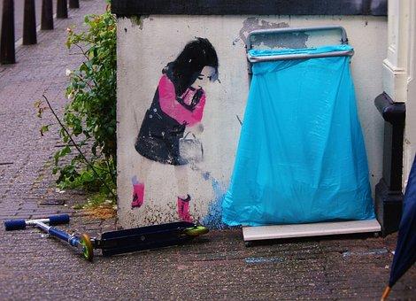 Street Art, Girl, Roller, Casting, Amsterdam