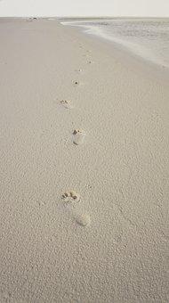 Footprints, Sand, Foot, Beira Mar