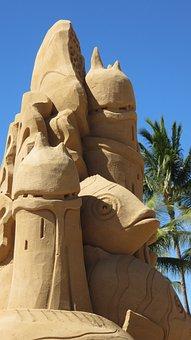 Sand Castle Sculpture, Beach, Blue Sky, Sea, Sandcastle