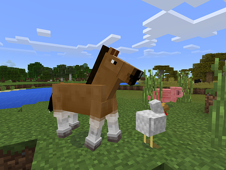 Minecraft, Game, Horse, Scenery, 3d Digital Art