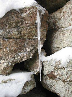 Icicle, Stone, Winter, Cold, Snow