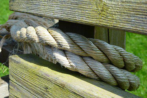 Tied, Rope, Bench, Texture