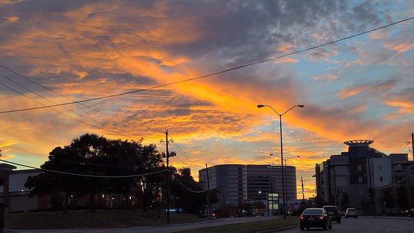 Winter Sunset, City Street, Cars Rush Hour