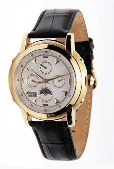 Chronometer, Wrist Watch, Gold, Golden, Watches