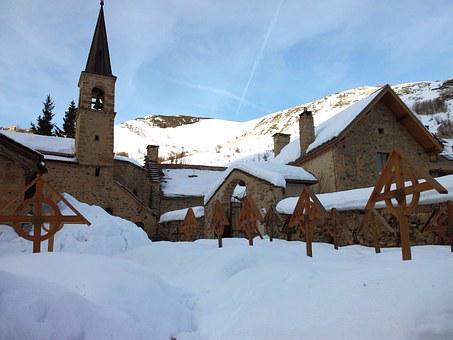 Snow, Cemetery, Mountain, Church, Winter, Cold, Alps