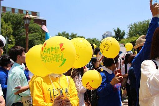 Peace, Yellow, Balloon, Background, Demo
