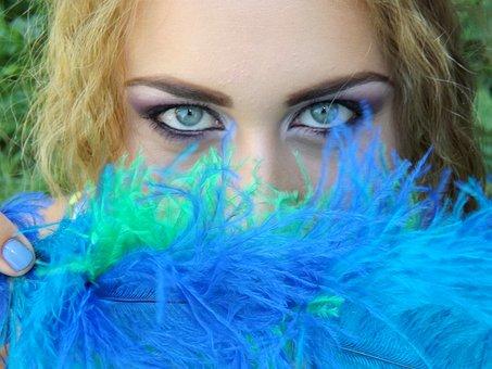 Girl, Eye, Blue, Green, Feather, Gene, Seductive