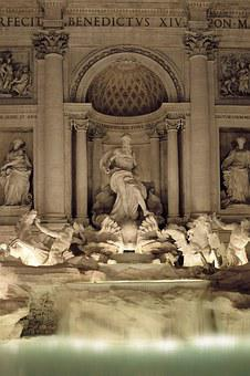 Rome, Fontana Di Trevi, Night, Rome By Night, Monument