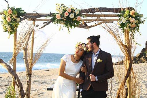 Wedding, Beach, Couple, Love, Romance, Bride, Groom