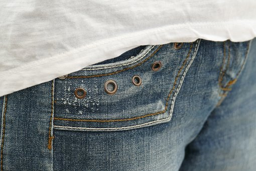 Jeans, Bag, Rivet, Pants, Close, Blue, Washed Out