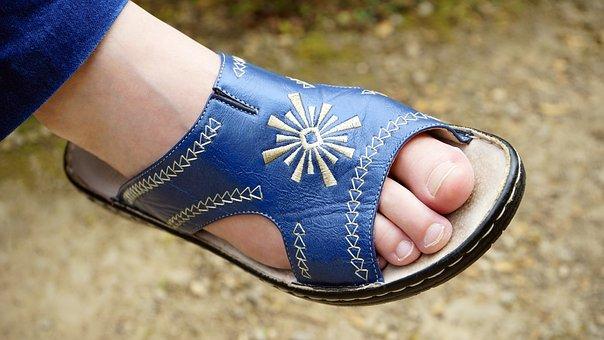 Foot, Shoe, Woman, Feet, Female, Blue, Leather, Sandal
