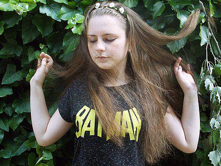 Girl, Sensitive, Green, Long Hair, Beauty, Leaves