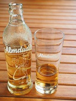 Almdudler, Bottle, Glass, Drink, Lemonade