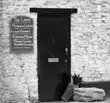 Black, White, Door, Pub, Lamb, Black And White, Lunch