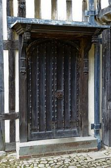 Medieval Oak Door And Surround, Canopy, Lead Roof