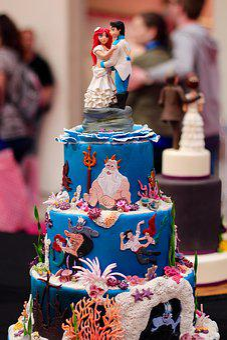 Cake, Arielle, Mermaid, Decorated, Model, Figures