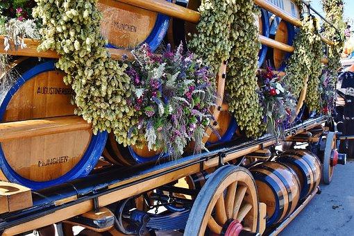 Oktoberfest, Beer Car, Barrels, Brewery, Beer, Munich