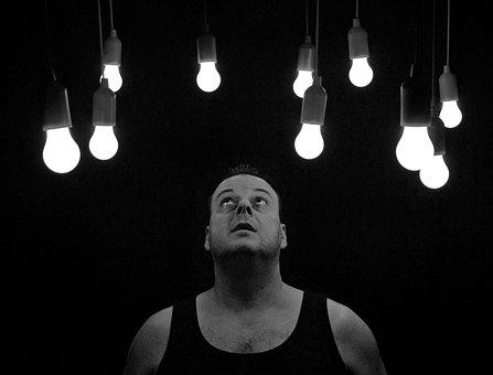 Light Bulbs, Pears, Man, Light, Awakening
