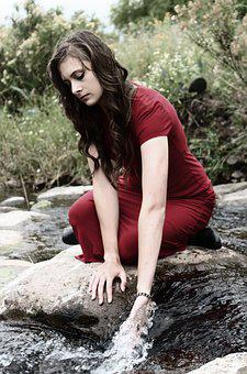 Wáter, Girl, Model, Porait, Hair, Hands, Red, Dress