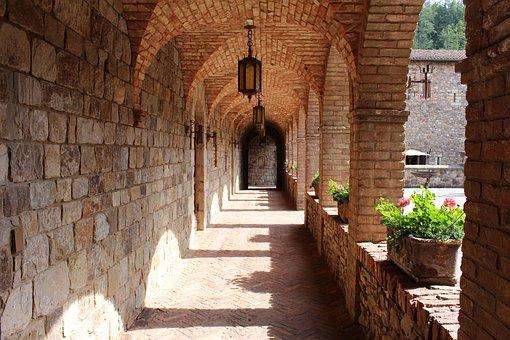 Napa Valley, Portico, Castle, Castello Di Amorosa