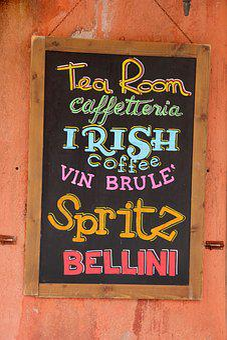 Pub Sign, Bellini, Spritz, Inscriptions
