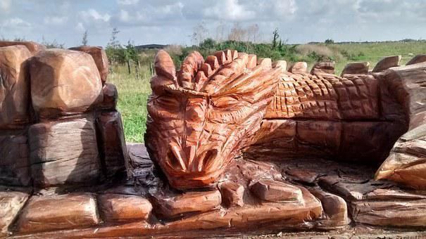 Dragon, Wooden, Wood Carving, Red, Fallen Tree