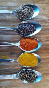Spoons, Spices, India, Cook, Cooking, Kitchen, Che
