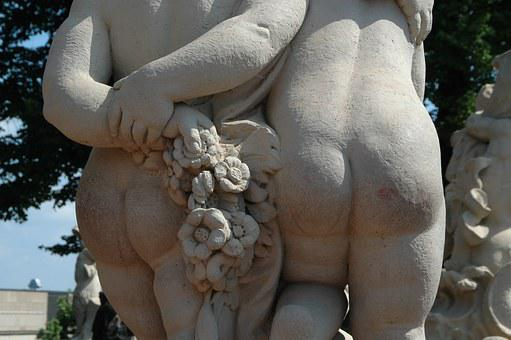 Dresden, Kennel, Putenpo, Statue, Rear View, Kiss, Ass