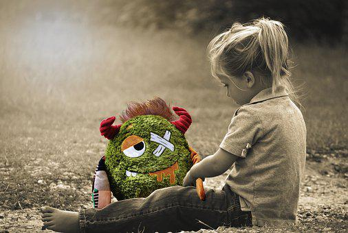 Little Girl, Toddler, Sitting, Monster, Stuffed Animal