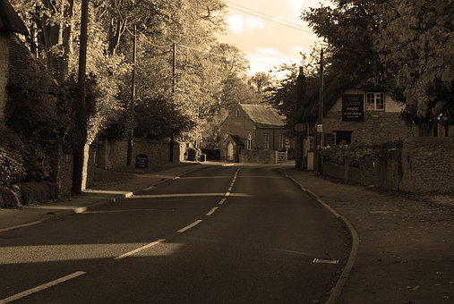 Village, Street, Sepia, Road, Building, Travel
