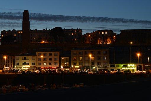 City, Night, Wharf, Port, Bistro, Lighting, Brest, Bar