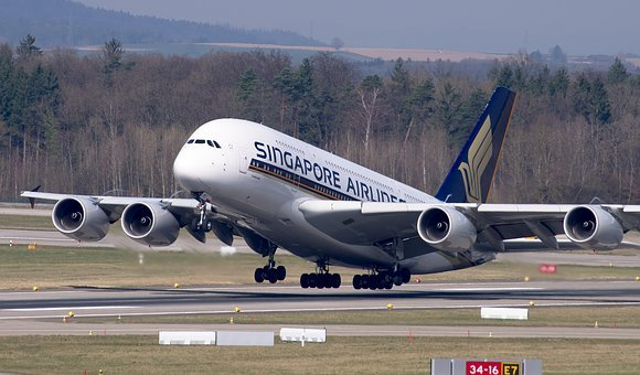 Aircraft, Singapore Airlines, Airbus, A380, Departure