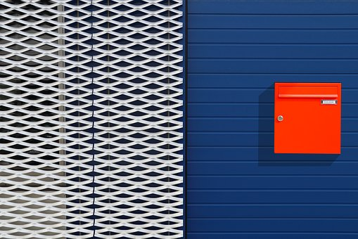 Expanded Metal, Mailbox, Building, Blue, Architecture