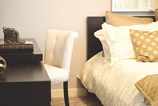Bed, Desk, Bedroom, Chair, Pillows, Furniture