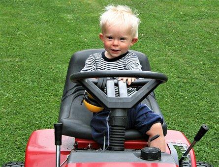Summer, Grass, Machine, Mowing, Children