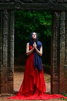 Pray, Woman, Awe, Colors, Mood