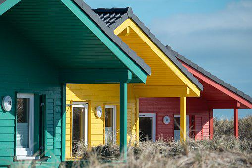 Wooden Houses, Color, Helgoland, Country Houses, Dune