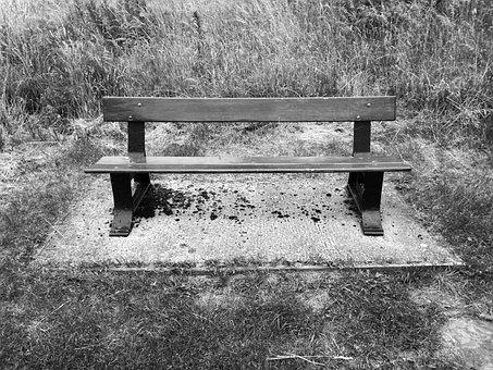 Bench, Black, White, Dark, Nature, Park, Sitting