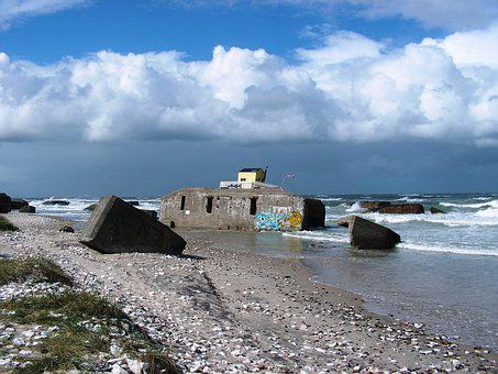 Denmark, Bunker, North Sea, Beach, Coast, Sea