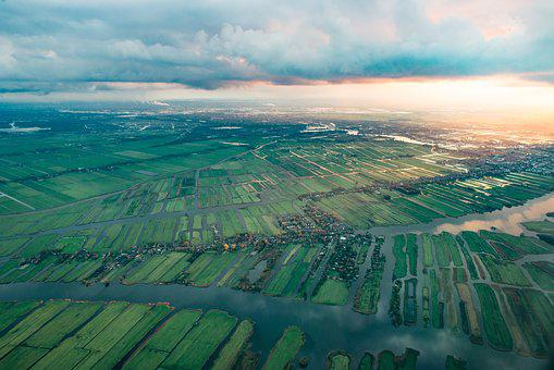 Aerial, Netherlands, Europe, Dutch, From, Airplane
