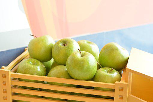 Apples, Green, Box, Fruit, Healthy