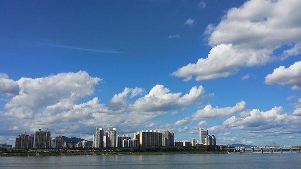Han River, Sky, Seoul, Cloud, City, Building