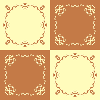 Frame, Yellow, Brown, Seamless, Pattern, Vector, Ink