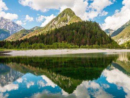 Jasna Lake, Slovenia, Mirroring, Mountains, Sky