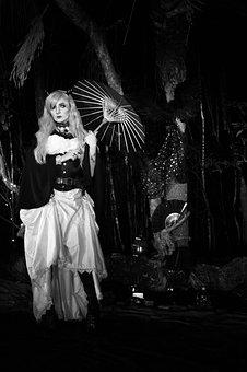 Goth, Magic, Vampire, Black And White, Monochromatic
