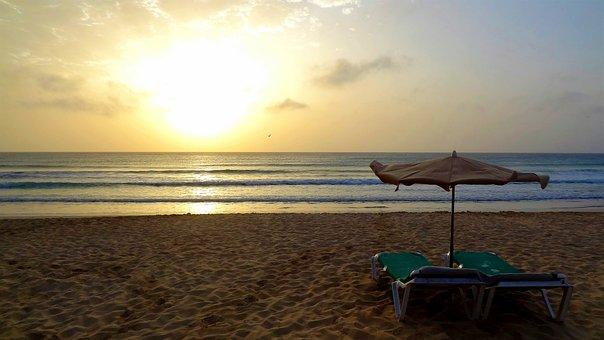 Sunrise, Beach, Sun Loungers, Morning, Morgenstimmung
