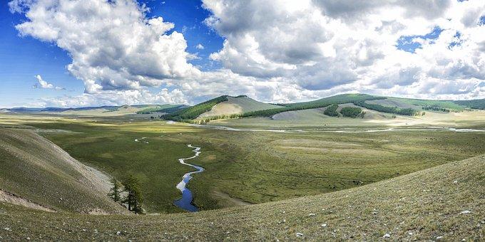 Landscape, Grandeur, River, Meadow, Khuvsgul Region